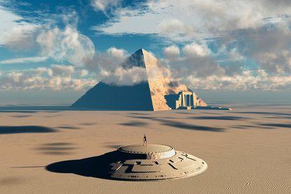 Concept d'artistes illustrant comment les aliens ont aidé à construire des monuments égyptiens ...