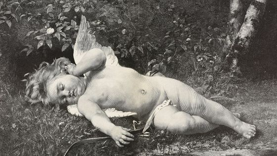 The napping cupid, painting by Leon Bazile Perrault (1832-1908), woodcut by Pannemaker from Moderne Kunst (Modern Art), illustrated magazine published by Richard Bong, 1891-1892, Year VI, No 6, Berlin