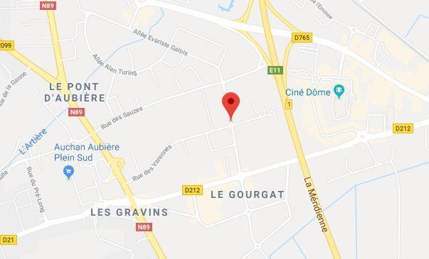 la rue de l'industrie à Aubière