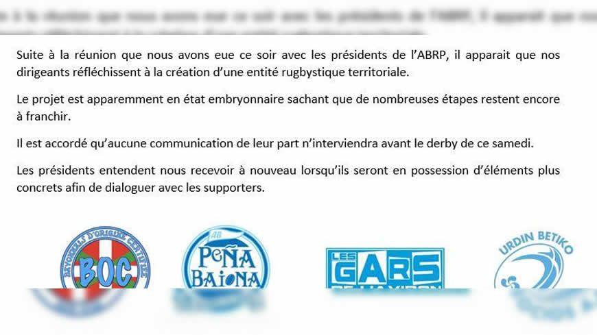 """Les supporters confirment un projet pour l'instant à l'état """"embryonnaire""""."""