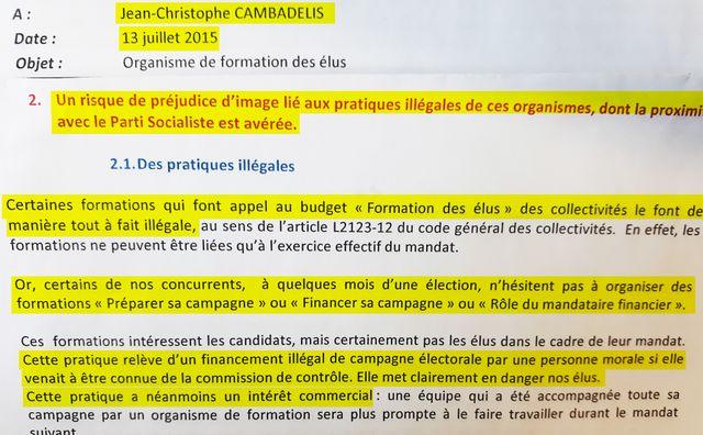 Extrait du mail alertant Jean-Christophe Cambadélis en juillet 2015