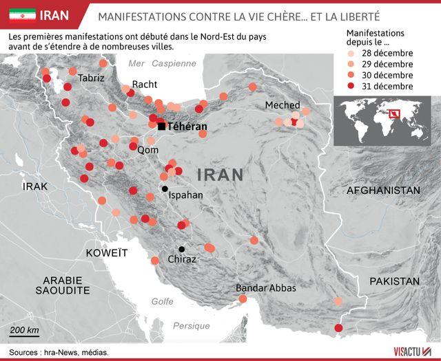 La carte des villes iraniennes les plus touchées par la révolte.