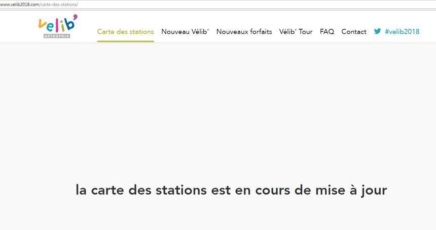 Capture d'écran du site Vélib' 2018 le 1er janvier 2018.