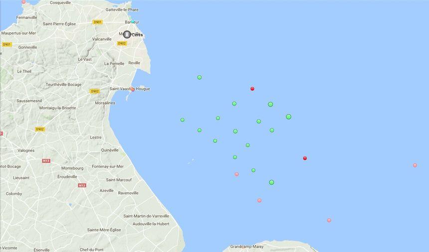 Mardi à 18 heures, une vingtaine de navires se sont mis à l'abri au large de Saint-Vaast-La-Hougue
