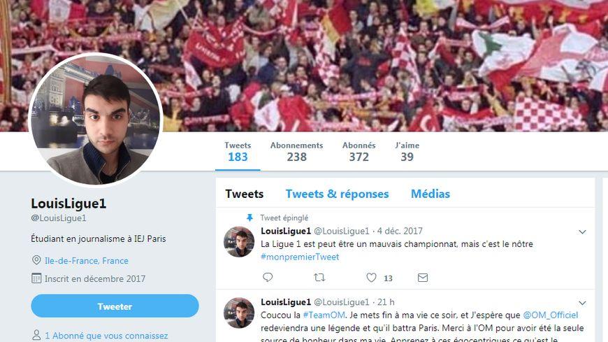 Capture d'écran du profil Twitter de Louis.