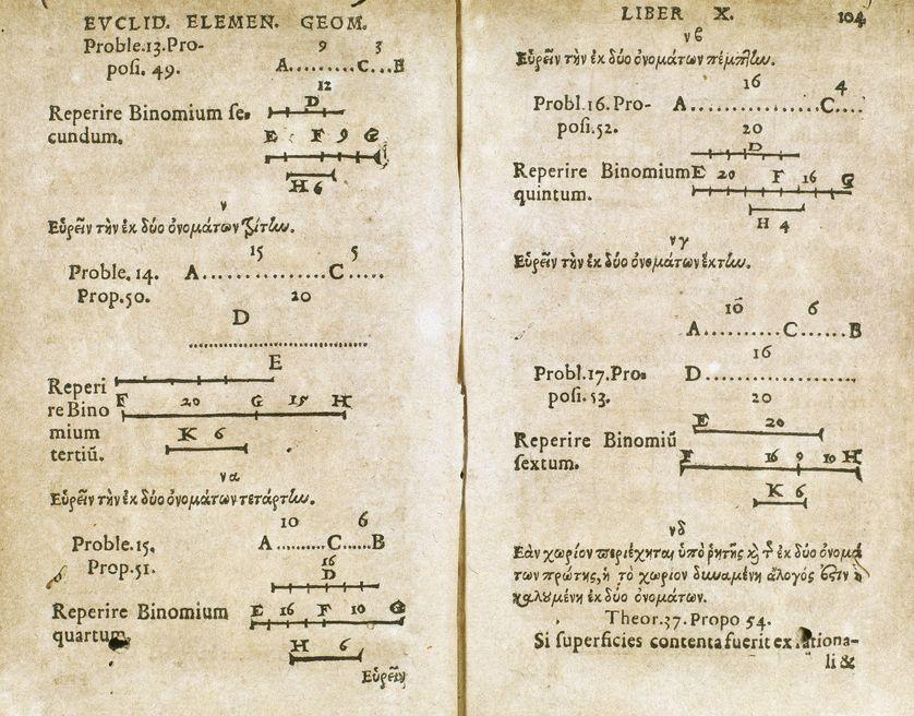 """Page du """"Livre de Géométrie"""" d'Euclide (330-275 avant JC), fondateur de l'Ecole de Alexandrie. Edition de 1557"""