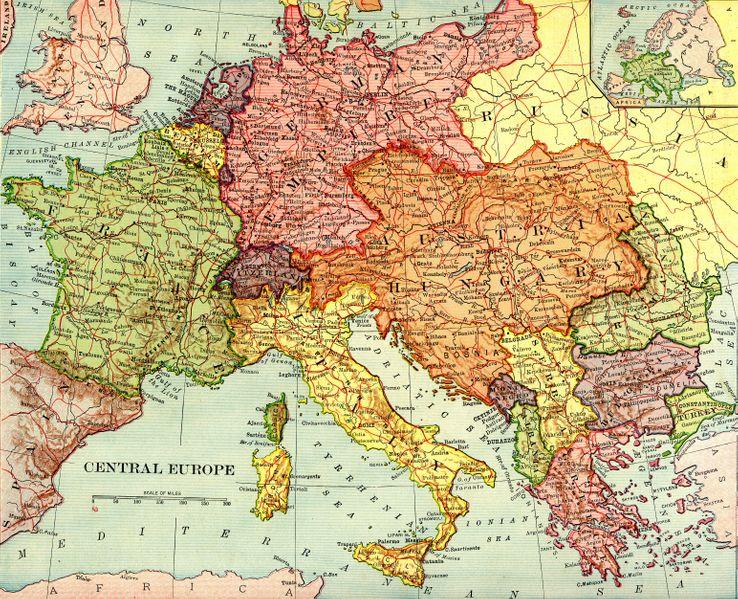 Carte extraite d'un atlas américain du début 20ème siècle : les frontières de l'Europe centrale sont telles qu'elles étaient avant 1919.