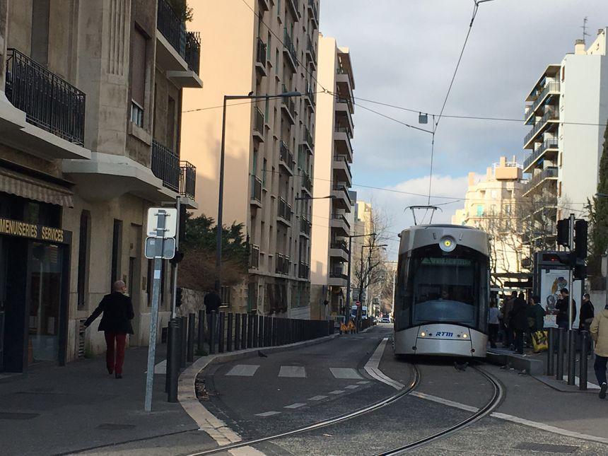 Le tramway à Marseille (ici à la Blancarde)