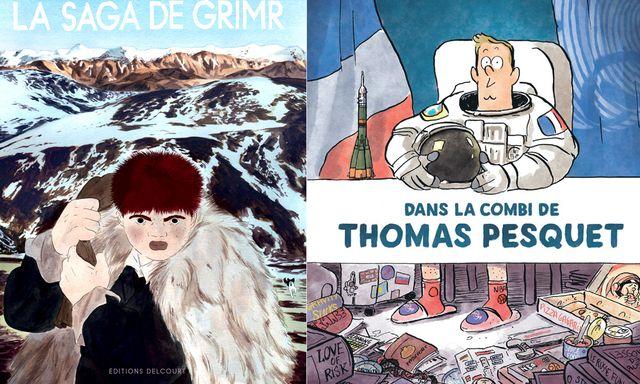 Couverture de La Saga de Grimr de Jérémie Moreau et Dans la combi de Thomas Pesquet de Marion Montaigne