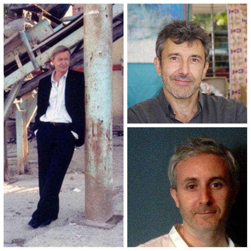 A gauche : Jean Echenoz ; en haut à droite : Christian Garcin ; en bas : Ivan Jablonka