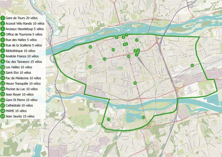 La carte de la zone de couverture et des lieux de stationnement des vélos