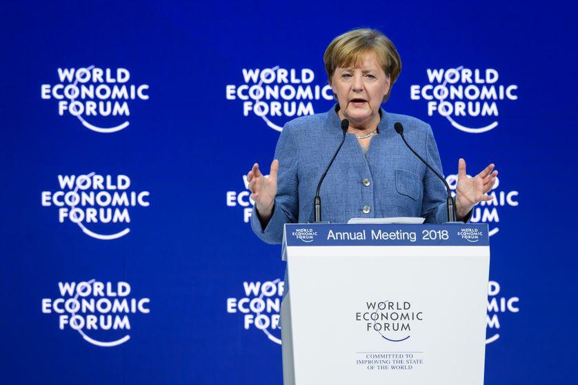 La chancelière allemande Angela Merkel au forum économique mondial de Davos, en Suisse (24/01/18)