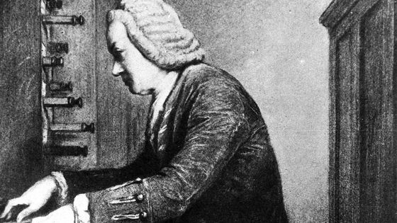 Portrait de Bach jouant de l'orgue.