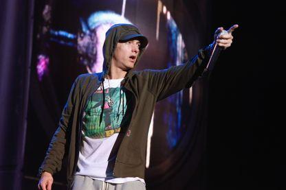 Eminem pendant le festival américain Lollapalooza, le 1er août 2014 à Chicago.