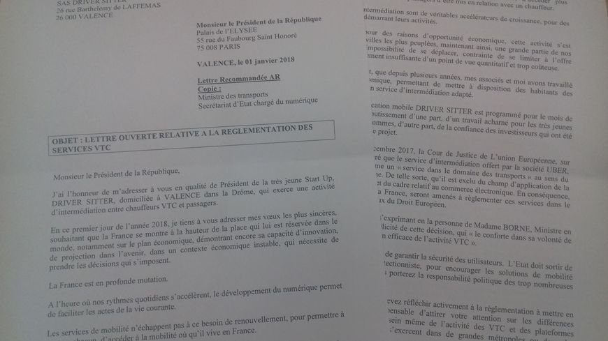 Lettre ouverte de Driver Sitter à Emmanuel Macron