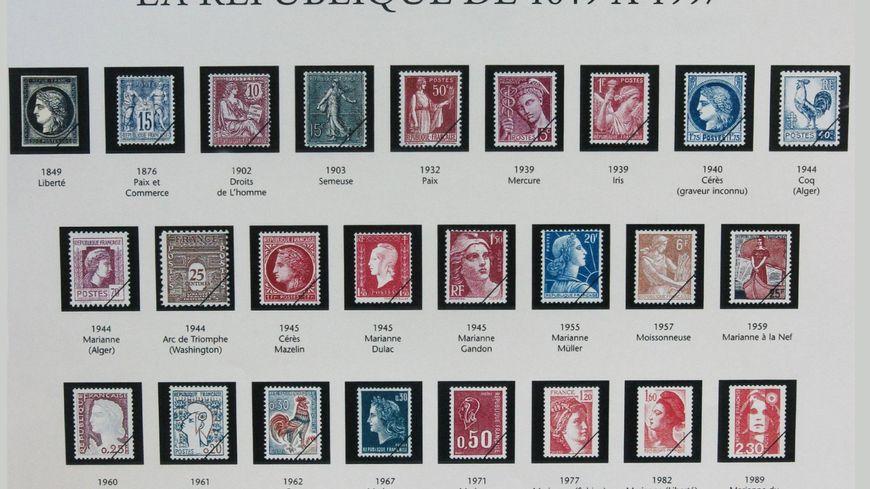 Le premier timbre français représente Cérès (déesse des moissons)  et date de 1849.