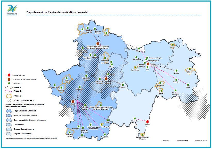 L'implantation des 4 centres de santé départementaux en Saône-et-Loire