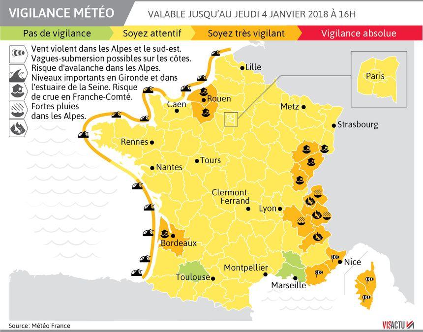Alerte orange aux inondations en Franche-Comté.
