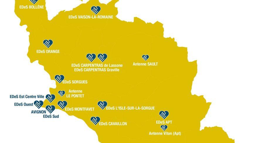 Les Espaces Départementaux des Solidarités et leurs antennes couvrent tout le territoire du Vaucluse