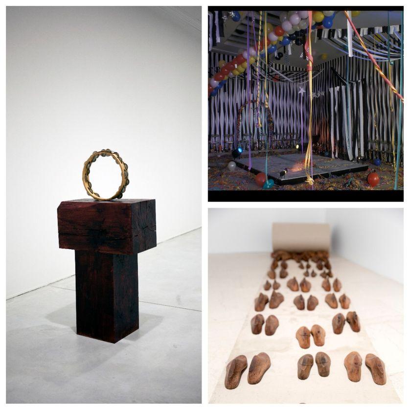 A gauche : Edgar Sarin ; en haut à droite : Visuel Galerie des Galeries ; en bas : L'intime et le monde