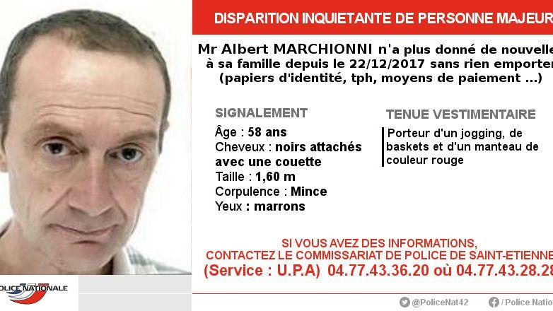 L'homme de 58 ans est parti de chez lui sans rien emporter. La police de Saint-Etienne appelle au témoignage.