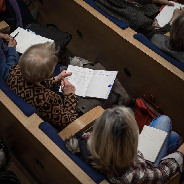 Au collège de France, pendant une conférence de Patrick Boucheron