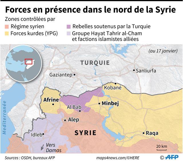 Forces en présence dans le nord de la Syrie, au 17 janvier.