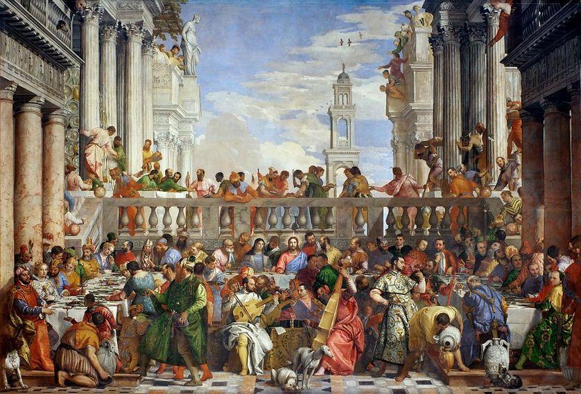 Les Noces de Cana de Paul Véronèse conservé aujourd'hui au musée du Louvre à Paris