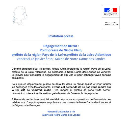 Communiqué de la préfecture de Loire-Atlantique, envoyé jeudi 25 janvier 2018