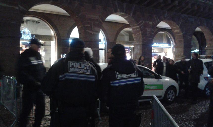 Place Kléber à Strasbourg, le lundi 1er janvier 2018 peu après minuit.