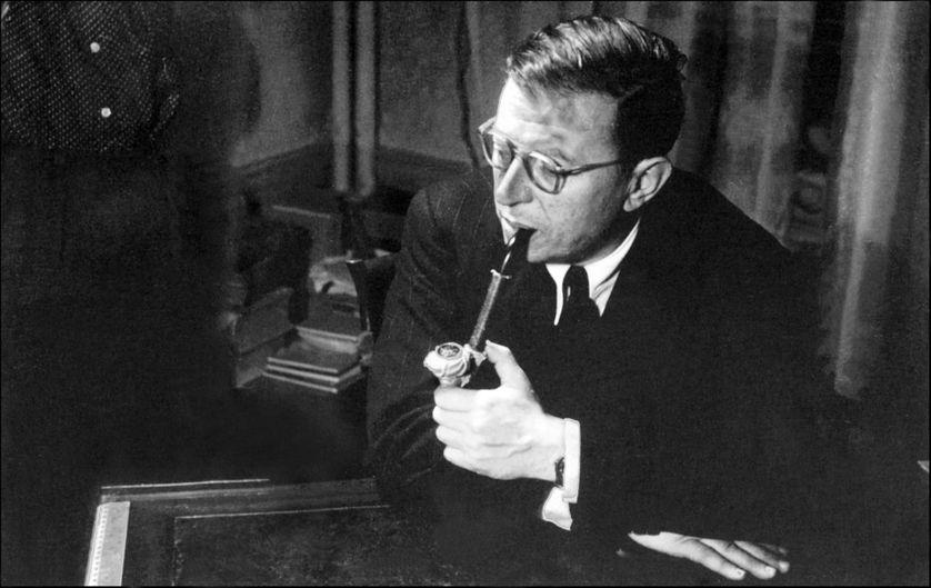 Jean Paul Sartre à Paris en janvier 1949