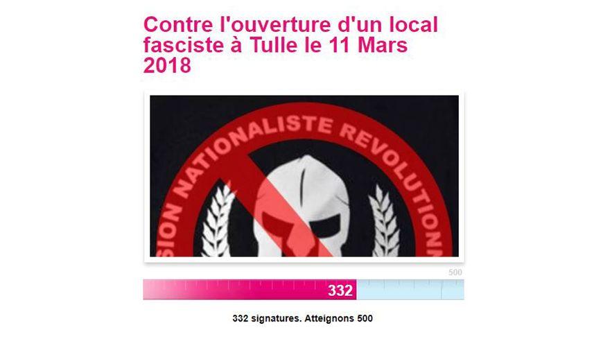 Une pétition est lancée sur internet contre l'ouverture du local du groupuscule d'extrême droite à Tulle