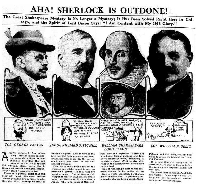 """Illustration d'un article du """"Chicago Tribune"""" autour du procès de 1916 sur l'identité de Shakespeare. De gauche à droite : Fabyan, Tuthill, Shakespeare et Bacon (qui serait, d'après le jugement rendu, l'auteur véritable des pièces)et Selig."""