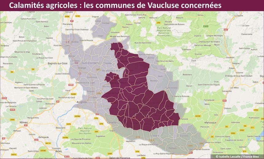 Carte des communes de Vaucluse concernées par la reconnaissance d'état de calamités agricoles