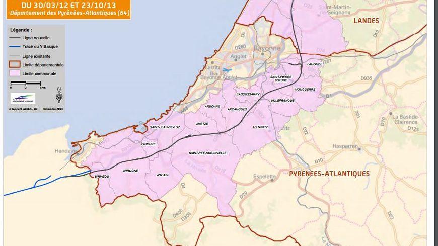 Le fuseau retenu par GPSO traverse une 15 aine de communes au Pays Basque