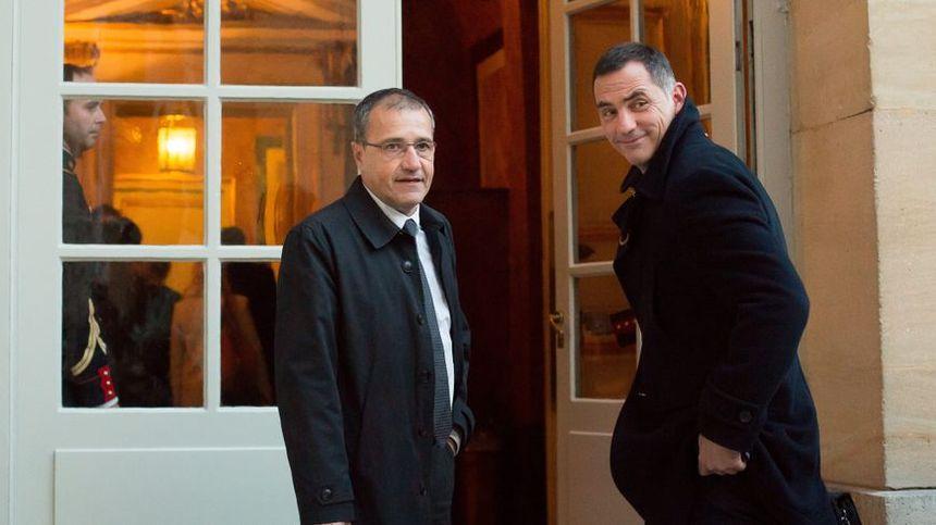 Jean-Guy Talamoni , le président de l'assemblée de Corse et Gilles Simeoni, le président de l'exécutif.