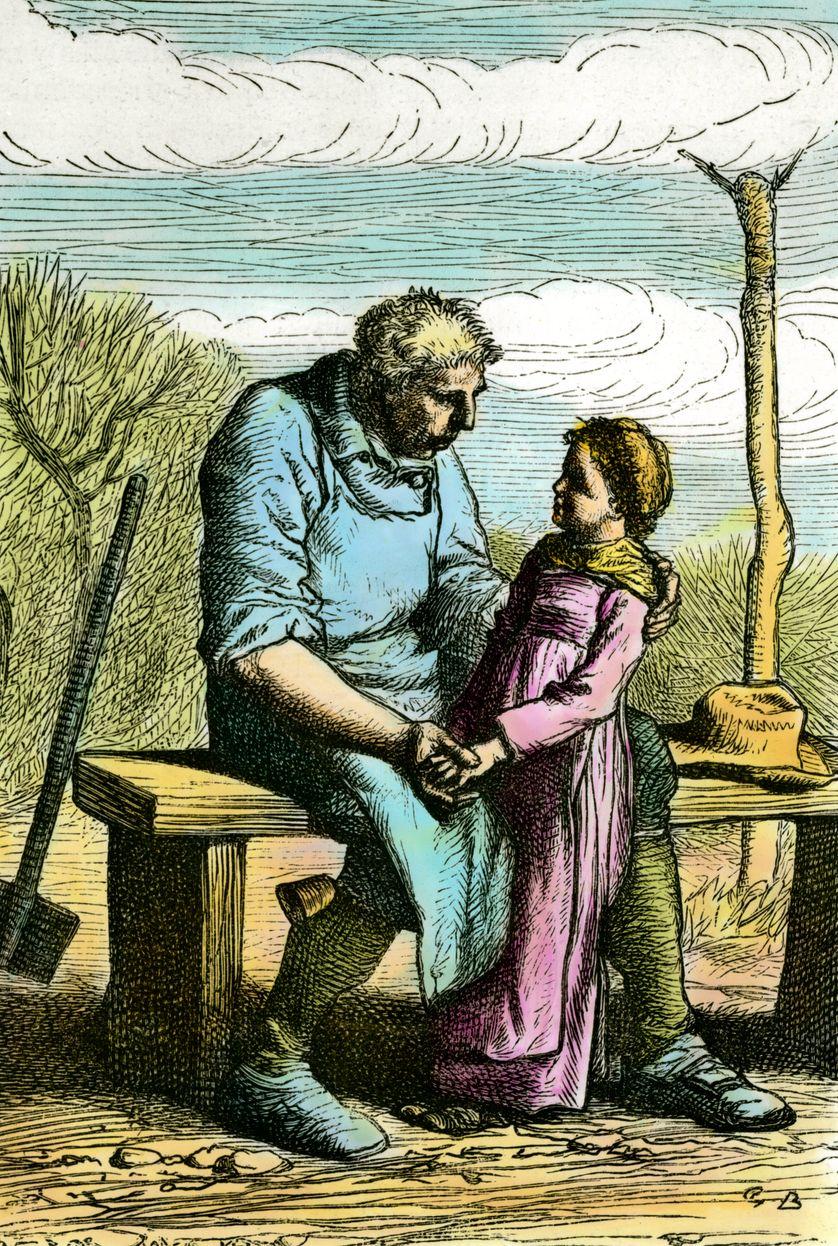 Causette et Jean Valjean, gravure de 1865