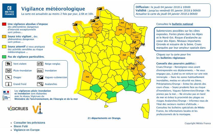 Au total, 21 départements sont placés en vigilance orange pour vagues-submersion, pluie-inondation, inondation et avalanches,