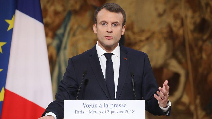 Emmanuel Macron lors de ses vœux à la presse à Paris, le 3 janvier 2018.
