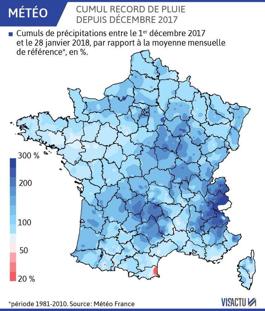 Record de pluie sur la France ces dernières semaines