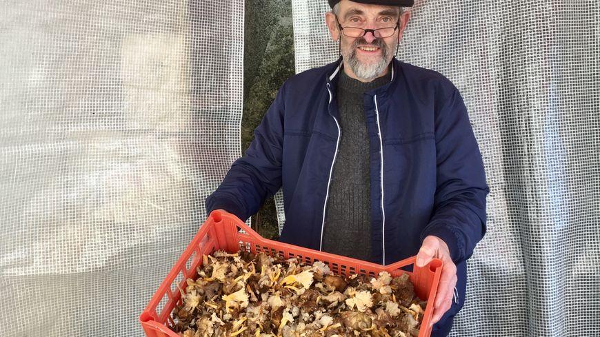 Hubert sur le marché de Saint-Astier avec une cagette de chanterelles