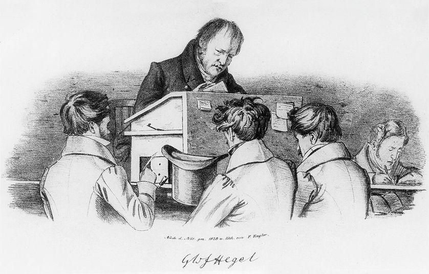 Représentation du philosophe Georg Wilhelm Friedrich Hegel, avec ses élèves à l'université de Berlin