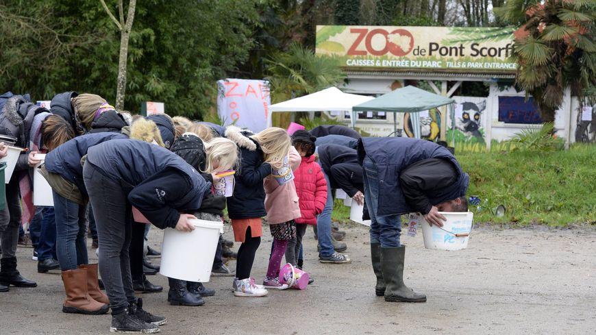"""A Pont-Scorff, les manifestations de salariés se multiplient pour dénoncer """"la politique de l'autruche"""" du repreneur du zoo."""