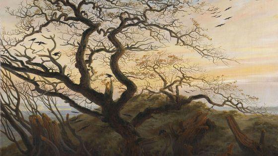 L'arbre aux corbeaux, peinture de Caspar David Friedrich (détail)