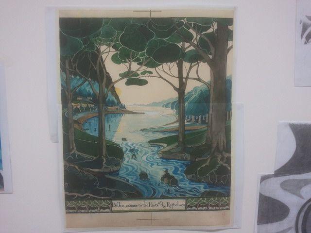 """La maquette de """"Bilbo vogue sur son tonneau"""", de JRR Tolkien"""