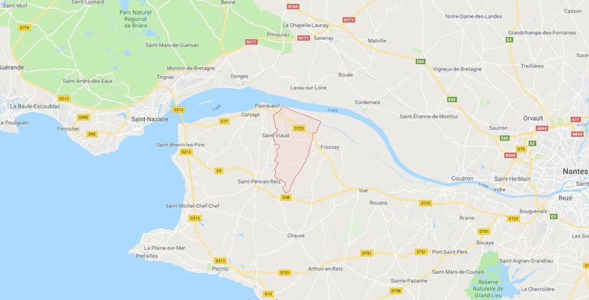 Carte de la partie sud de la Loire-Atlantique