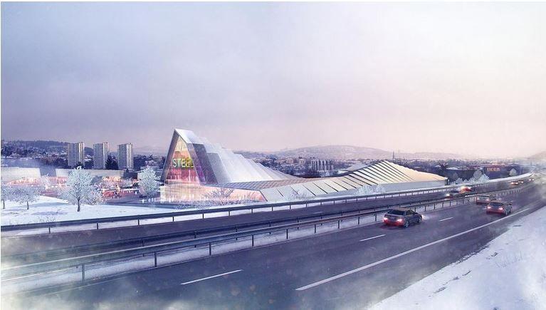 le futur centre commercial ( vue d'architecte)