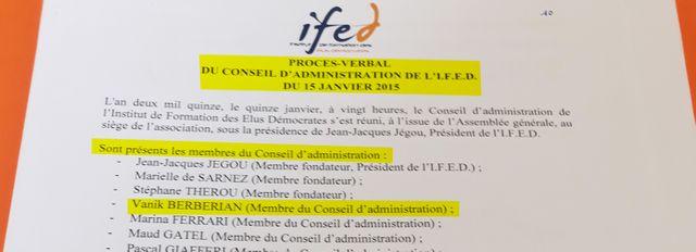 Extrait du procès-verbal du Conseil d'administration de l'IFED, le 15 janvier 2015