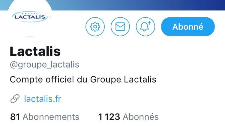 Le compte Twitter du groupe Lactalis a été créé ce mardi 16 janvier 2018.