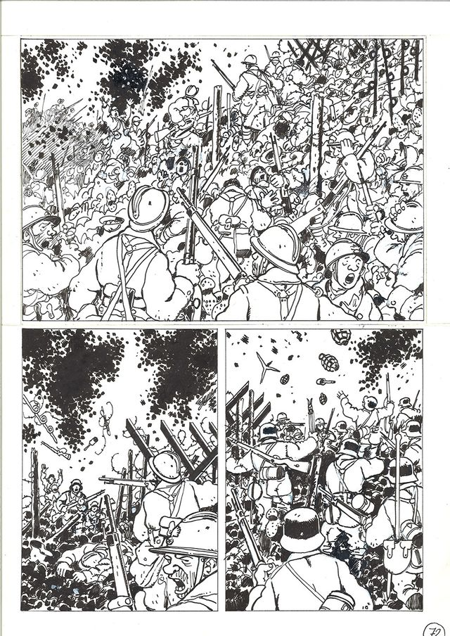 """Planche du """"Dernier assaut"""" de Jacques Tardi, Dominique Grage et Accordzéâm, présentée dans l'exposition à l'Abbaye royale de l'Epau (Sarthe)"""